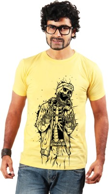 Shopping Monster Graphic Print Men's Round Neck Yellow T-Shirt