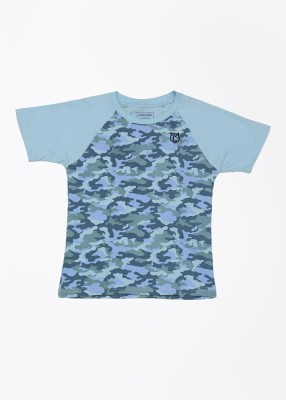 Cherokee Kids Printed Boy's Round Neck Blue T-Shirt
