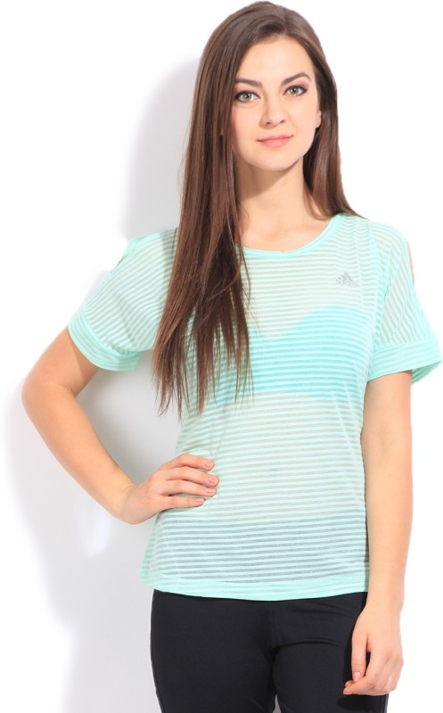 Adidas Striped Women's Round Neck Green T-Shirt