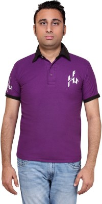 Hira Fashion Wear Solid Men's Polo Neck Purple T-Shirt
