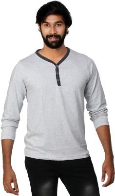 0EM Self Design Men's Henley Silver T-Shirt