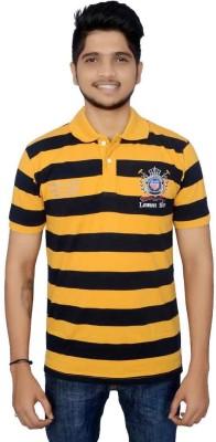 Lemon Slice Striped Men's Polo Neck Yellow, Dark Blue T-Shirt