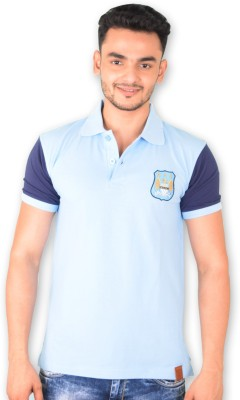 Manchester City FC Solid Men's Polo Neck Light Blue T-Shirt