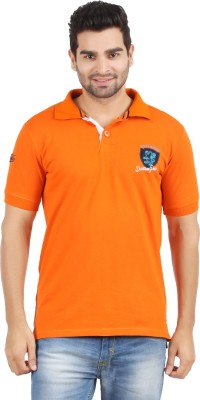 Danteez Embroidered Men's Polo Neck Orange T-Shirt