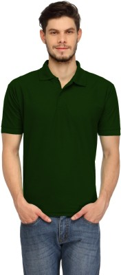 Davie Jones Solid Men,s Polo Dark Green T-Shirt