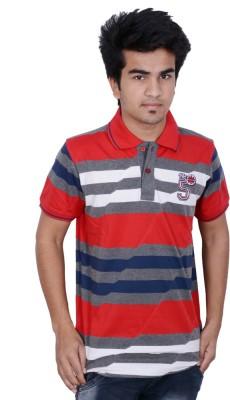 Being Dessi Striped Men's Flap Collar Neck Red T-Shirt