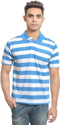 Set Striped Men's Polo Neck White, Blue T-Shirt