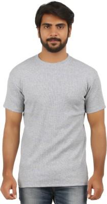 curviva Solid Men's Round Neck Grey T-Shirt