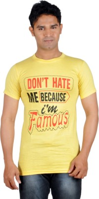 Harsha Printed Men's Round Neck Yellow T-Shirt
