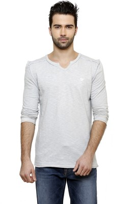 Desinvolt Printed Men's V-neck Grey T-Shirt