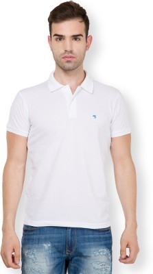 The Indian Garage Co. Solid Men's Polo Neck White T-Shirt