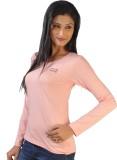 No Code Solid Women's Round Neck Pink T-...