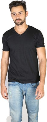 Fashion Fakir Solid Men's V-neck Black T-Shirt
