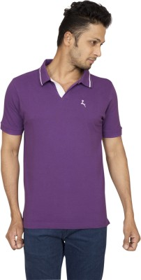 Red Line Solid Men's Polo Purple T-Shirt