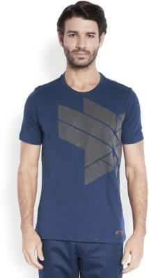 ColorPlus Printed Men's Round Neck Blue T-Shirt