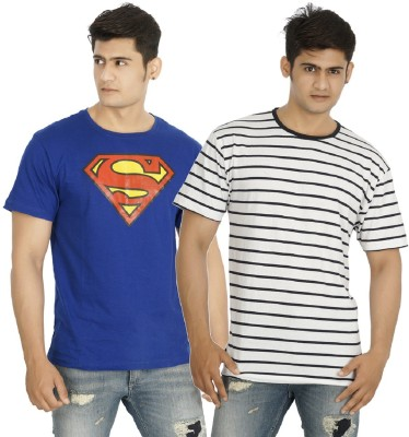five on five Printed, Striped Men's Round Neck Multicolor T-Shirt