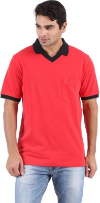 Furore Solid Men's Polo Neck Red T-Shirt