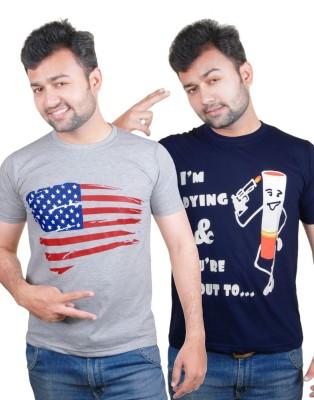 Tymstyle Printed Men,s Round Neck Grey, Dark Blue T-Shirt