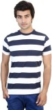 SHRA Striped Men's Round Neck Blue, Whit...