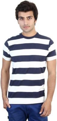 Shra Striped Men's Round Neck Blue, White T-Shirt