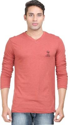 John Caballo Solid Men's V-neck Red T-Shirt