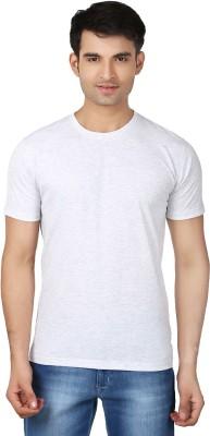 Essentiele Solid Men's Round Neck White T-Shirt