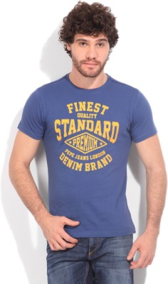 Pepe Jeans Printed Men's Round Neck Blue T-shirt