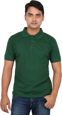 LOOX by Apoorti Solid Men's Polo Neck Dark Green T-Shirt