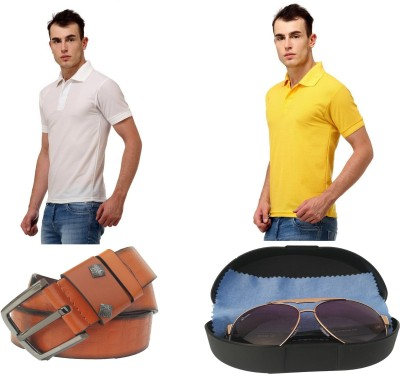 Tele Queen Solid Men's Polo Neck White, Yellow T-Shirt