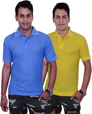 Blaze Solid Men's Polo Blue, Yellow T-Shirt