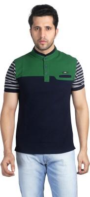 Nostrum Jeans Solid Men's Mandarin Collar T-Shirt
