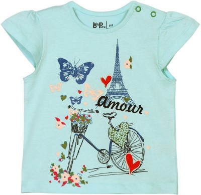 Baby Pure Printed Baby Girl's Round Neck Blue T-Shirt
