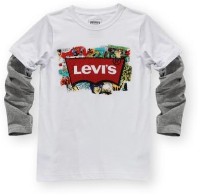 Levis Kids Graphic Print Boy's Round Neck White, Grey T-Shirt