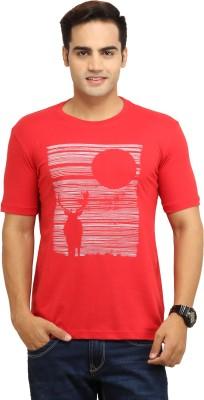 WallWest Printed Men's Round Neck Red T-Shirt