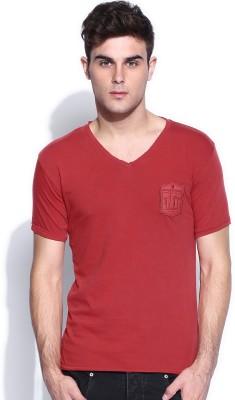 883 Police Solid Men's V-neck Red T-Shirt