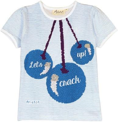 Aristot Striped Girl,s Round Neck Light Blue T-Shirt