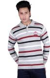 Dezyn Striped Men's Polo Neck Grey T-Shi...