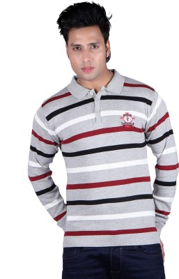 Dezyn Striped Men's Polo Neck Grey T-Shirt