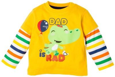 Fisher-Price Printed Baby Boy's Round Neck Yellow T-Shirt