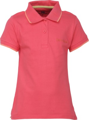 Bells and Whistles Solid Girl's Polo Pink T-Shirt