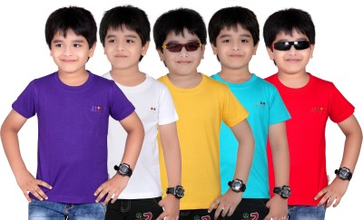 Dongli Solid Boy's Round Neck Purple, White, Yellow, Light Blue, Red T-Shirt