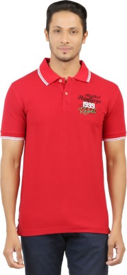 Menthol Solid, Embroidered, Applique, Printed Men's Polo Neck Red T-Shirt