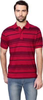 Van Heusen Striped Men's Polo Neck Pink T-Shirt