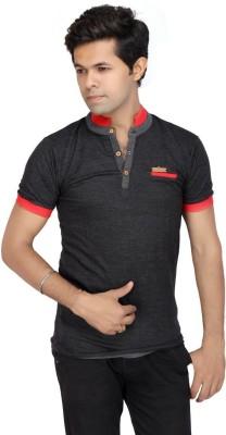 JG FORCEMAN Solid Men's Mock Neck Black T-Shirt