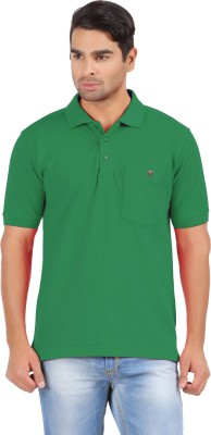 4thneed Solid Men's Polo Neck Green T-Shirt