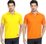 Krazy Katz Solid Men's Polo Neck Yellow,...