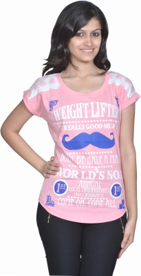 Gee & Bee Printed Women's Round Neck Pink T-Shirt