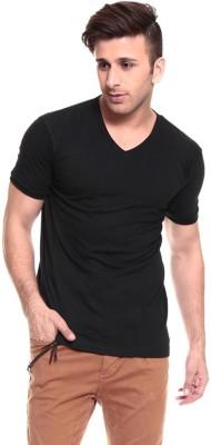 Lowcha Solid Men's V-neck Black T-Shirt