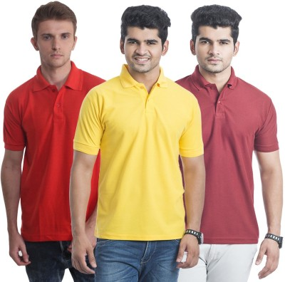 Bainsons Solid Men,s Polo Yellow, Red, Maroon T-Shirt
