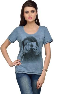 Iracc Printed Women's Round Neck Blue T-Shirt